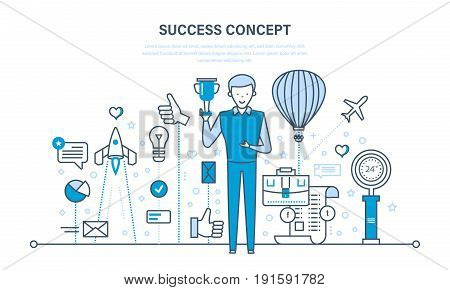 Success concept: start-up, growth in business, teamwork, leadership, achievements of goals, execution of plan, implementation of ideas. Illustration thin line design of vector doodles