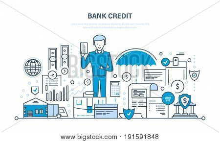 Secure transactions, payments, business, finance, bank credit, insurance, banking, protection of deposits, bank service, investments Illustration thin line design of vector doodles poster