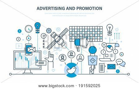Digital marketing, advertising, online business, financial analysis, research. Promotion through television, social networks, media, video content. Illustration thin line design of vector doodles.