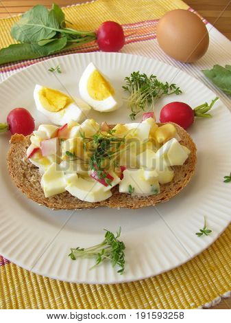Egg salad with cress and radish on spelt bread