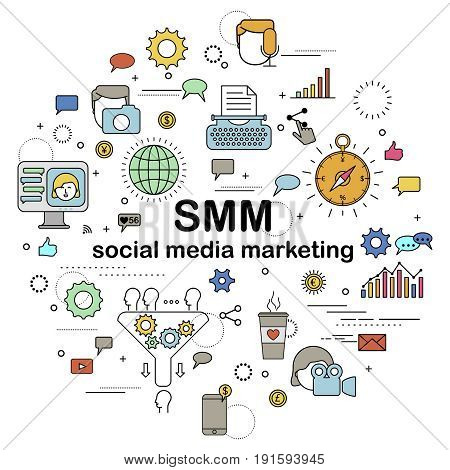 Social Media Marketing - abstract colored circle with different design element. Movie and foto, writing and other content. Sales funnel