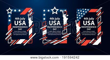 USA independence day. 4th of July set of frames for text. Modern art graphics. Dynamic vertical frames, stylish background. Element for advertising design, invitations, gift cards. Vector illustration