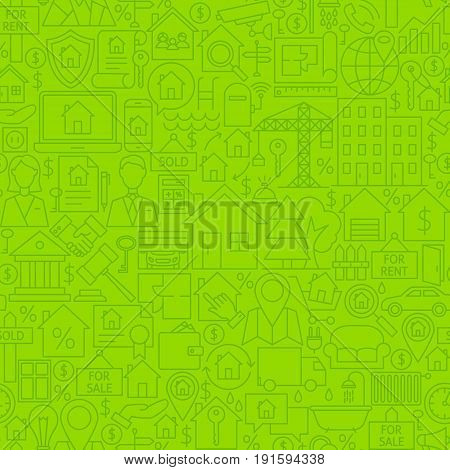 Real Estate Line Tile Pattern. Vector Illustration of Outline Seamless Background. House Building Items.