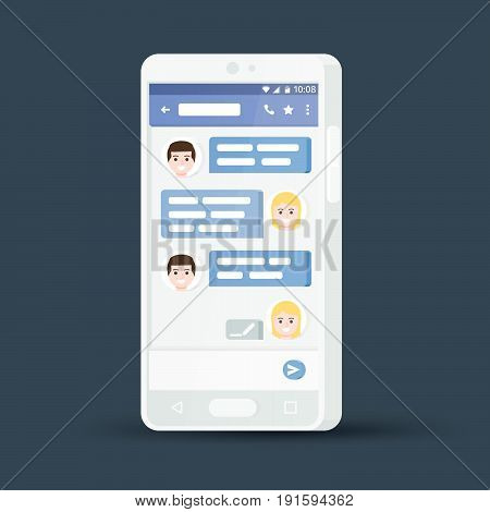 White 3d mobile phone. Message exchange. Flat stylish smartphone. Social network concept. Messenger window. Chating and messaging concept. Blue chat boxes. Vector illustration.