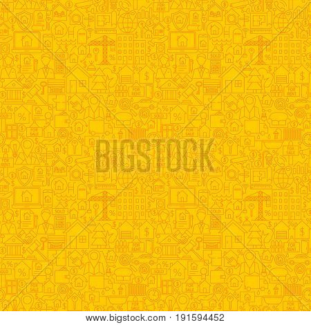 Yellow Line Real Estate Seamless Pattern. Vector Illustration of Outline Tile Background. House Building Items.