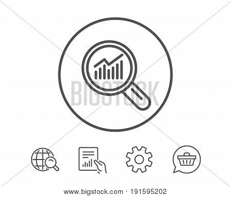 Chart line icon. Report graph or Sales growth sign in Magnifying glass. Analysis and Statistics data symbol. Hold Report, Service and Global search line signs. Shopping cart icon. Editable stroke