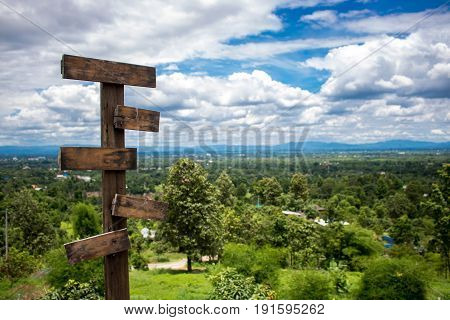 Blank sign with green and sky forest.