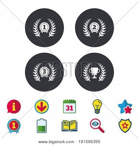 Laurel wreath award icons. Prize cup for winner signs. First, second and third place medals symbols. Calendar, Information and Download signs. Stars, Award and Book icons. Vector