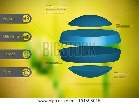 3D illustration infographic template with motif of ball horizontally divided to four standalone blue sections with simple sign and sample text on side in bars. Blurred photo is used as background.