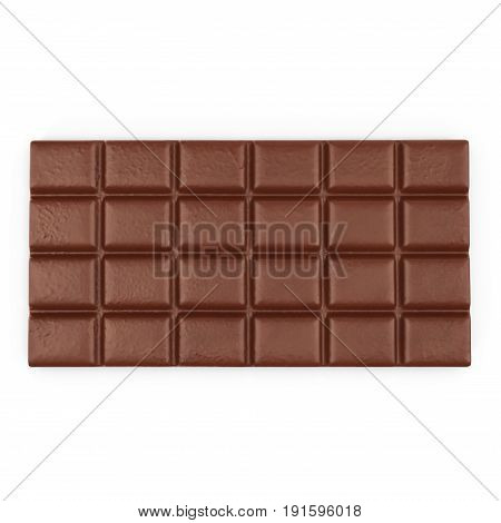 Chocolate Bar on white background. Top view. 3D illustration, clipping path