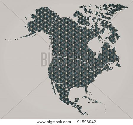 North American Continent Map With Stars And Ornaments Including Country Borders