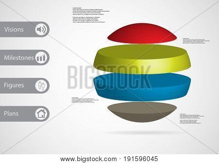 3D Illustration Infographic Template With Ball Horizontally Divided To Four Standalone Color Parts