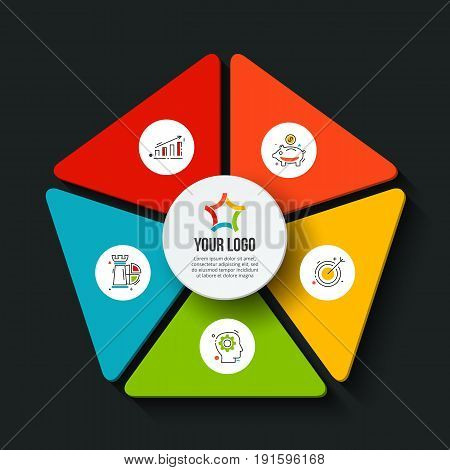 Vector dark pentagon infographic. Template for cycle diagram, graph, presentation and chart. Business concept with 5 options, parts, steps or processes. Data visualization.