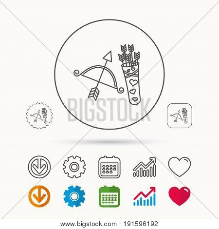 Amour arrows and bow icon. Valentine weapon sign. Calendar, Graph chart and Cogwheel signs. Download and Heart love linear web icons. Vector