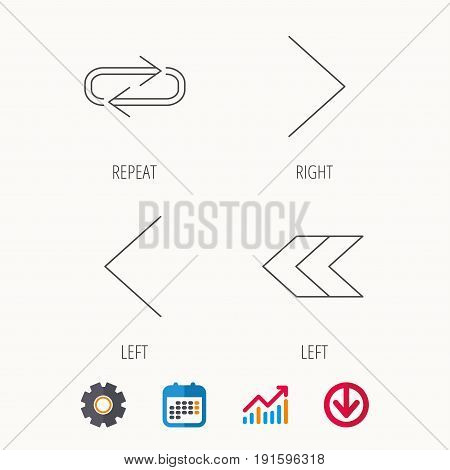 Arrows icons. Right direction, repeat linear signs. Next, back arrows flat line icons. Calendar, Graph chart and Cogwheel signs. Download colored web icon. Vector