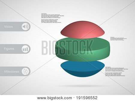 3D Illustration Infographic Template With Ball Horizontally Divided To Three Standalone Color Parts