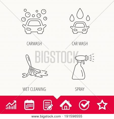 Car wash icons. Automatic cleaning station linear signs. Wet cleaning and spray flat line icons. Edit document, Calendar and Graph chart signs. Star, Check and House web icons. Vector