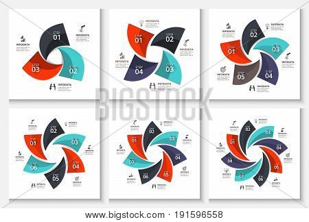 Vector abstract infographic. Template for cycle diagram, graph, presentation and chart. Business concept with 3, 4, 5, 6, 7 and 8 options, parts, steps or processes. Data visualization.
