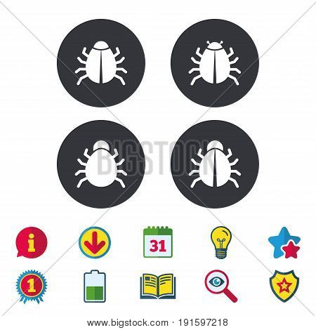 Bugs vaccination icons. Virus software error sign symbols. Calendar, Information and Download signs. Stars, Award and Book icons. Light bulb, Shield and Search. Vector