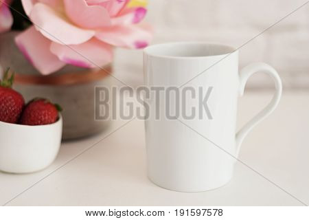 Coffee Cup Product Display. Coffee White Table. Strawberries In Gold Bowl, Vase With Pink Roses
