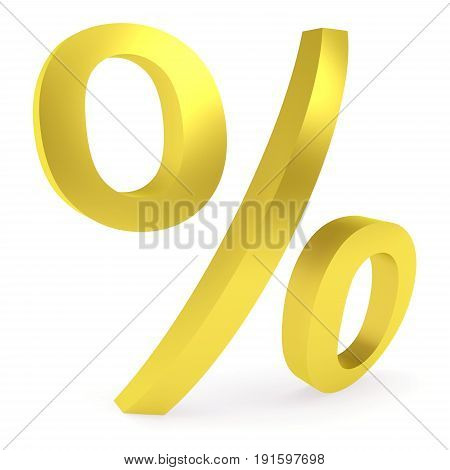 Curved golden percent sign rendered with soft shadows on white background