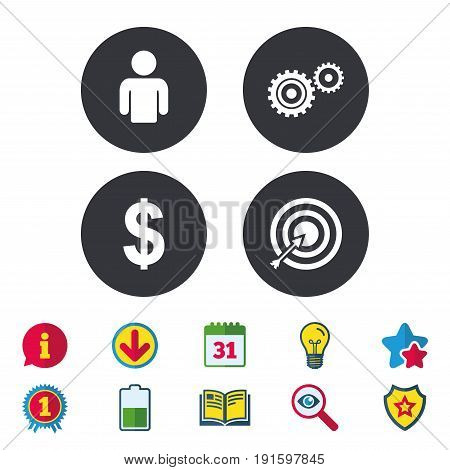 Business icons. Human silhouette and aim targer with arrow signs. Dollar currency and gear symbols. Calendar, Information and Download signs. Stars, Award and Book icons. Light bulb, Shield and Search