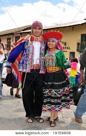 CUSCO PERU - SEPTEMBER 5: Peruvian dancers in traditional clothing from Cuzco, Peru on September 5, 2009
