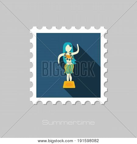 Hula Dancer Statuette vector stamp. Summer. Summertime. Holiday. Vacation eps 10