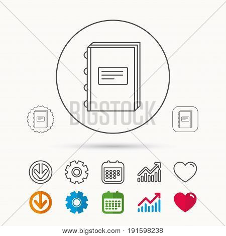 Book icon. Education sign. Calendar, Graph chart and Cogwheel signs. Download and Heart love linear web icons. Vector