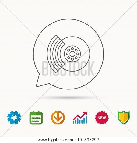 Brakes icon. Auto disk repair sign. Calendar, Graph chart and Cogwheel signs. Download and Shield web icons. Vector