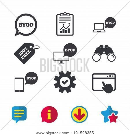 BYOD icons. Notebook and smartphone signs. Speech bubble symbol. Browser window, Report and Service signs. Binoculars, Information and Download icons. Stars and Chat. Vector