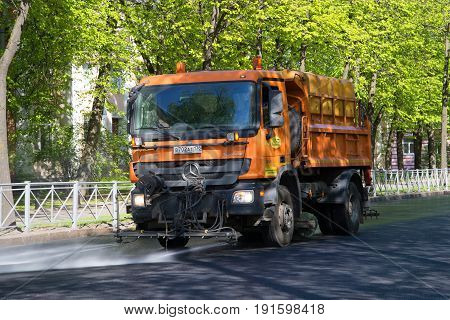 SAINT PETERSBURG, RUSSIA - MAY 30, 2017: Municipal multifunctional truck