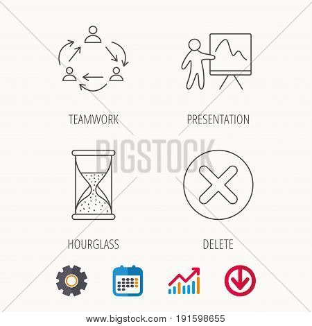 Teamwork, presentation and hourglass icons. Delete or remove linear sign. Calendar, Graph chart and Cogwheel signs. Download colored web icon. Vector