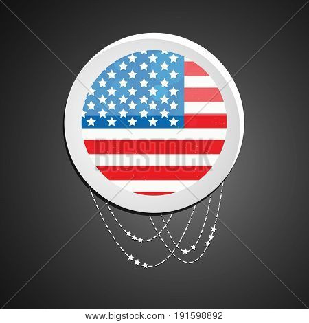 illustration of button in U.S.A flag background on the occasion of U.S.A independence day