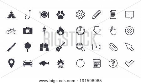 Set of Travel, Hiking and Camping icons. Fishing, Biking and Guitar music signs. Tourist tent, Food and Binoculars symbols. Photo and Rent a car. Calendar, Document and Download line signs. Vector