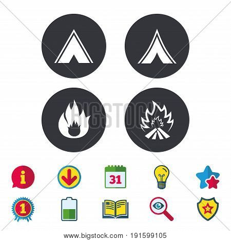 Tourist camping tent icons. Fire flame sign symbols. Calendar, Information and Download signs. Stars, Award and Book icons. Light bulb, Shield and Search. Vector