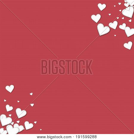 Beautiful Paper Hearts. Circular Corners On Crimson Background. Vector Illustration.