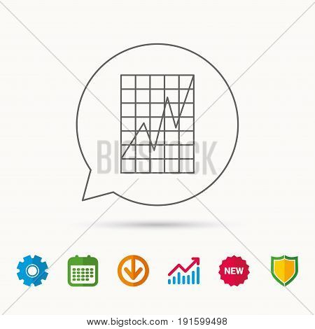 Chart curve icon. Graph diagram sign. Demand growth symbol. Calendar, Graph chart and Cogwheel signs. Download and Shield web icons. Vector