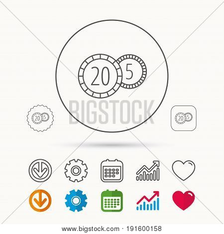 Coins icon. Cash money sign. Bank finance symbol. Twenty and five cents. Calendar, Graph chart and Cogwheel signs. Download and Heart love linear web icons. Vector