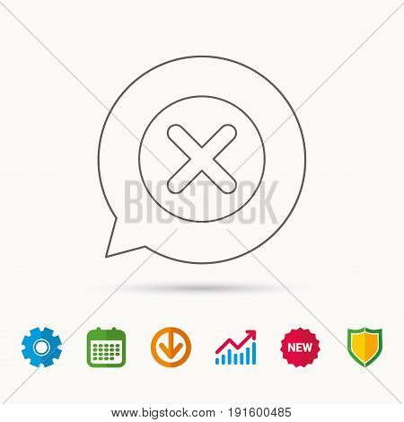 Delete icon. Decline or Remove sign. Cancel symbol. Calendar, Graph chart and Cogwheel signs. Download and Shield web icons. Vector