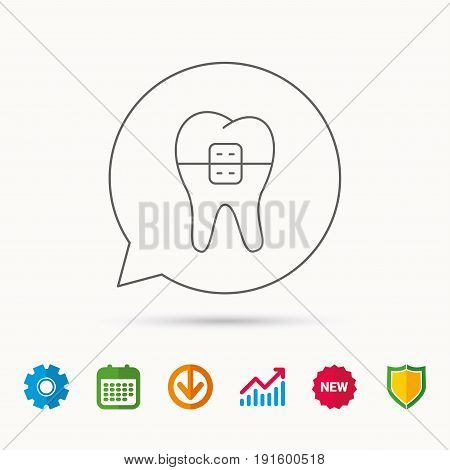 Dental braces icon. Tooth healthcare sign. Orthodontic symbol. Calendar, Graph chart and Cogwheel signs. Download and Shield web icons. Vector