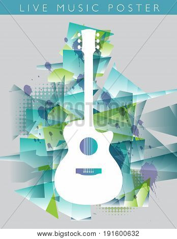 Music background with an acoustic guitar on grungy color background