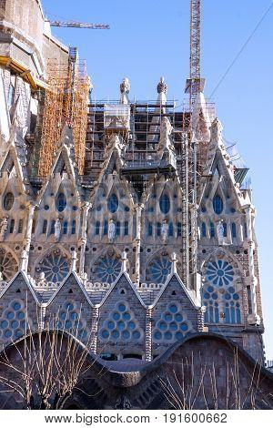 Barcelona, Spain - June 8, 2017: Sagrada Familia Church fragment, Gaudi, Barcelona