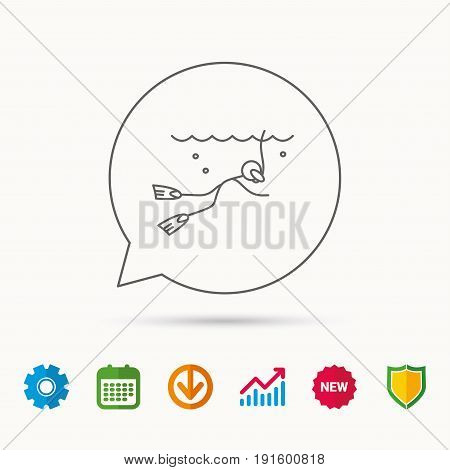 Diving icon. Swimming underwater with tube sign. Scuba diving symbol. Calendar, Graph chart and Cogwheel signs. Download and Shield web icons. Vector