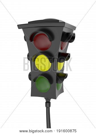 3D rendering of traffic light with a glowing yellow light Isolated on white background
