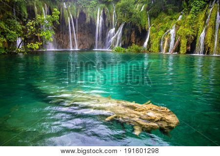 Plitvice lakes waterfall natural green landscape, Croatia