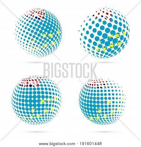 Tuvalu Halftone Flag Set Patriotic Vector Design. 3D Halftone Sphere In Tuvalu National Flag Colors
