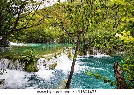 Waterfall of Plitvice lake, Croatia natural travel background national park