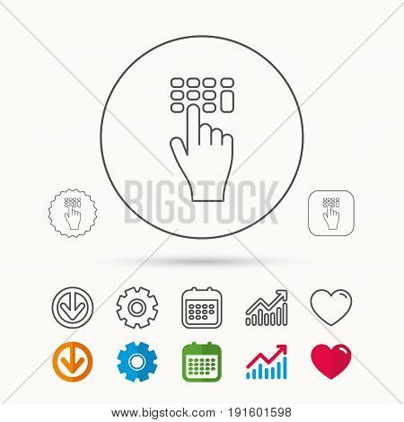 Enter pin code icon. Click hand pointer sign. Calendar, Graph chart and Cogwheel signs. Download and Heart love linear web icons. Vector