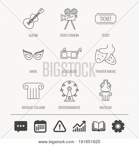 Museum, guitar music and theater masks icons. Ticket, video camera and 3d glasses linear signs. Entertainment, antique column icons. Education book, Graph chart and Chat signs. Vector